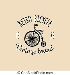 Vector vintage hipster bicycle logo. Retro velocipede emblem...