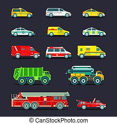 Town municipal special, emergency service cars and trucks...