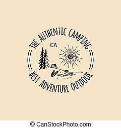 Vector camp logo. Tourism sign with hand drawn lake shore landscape. Retro hipster badge, label of outdoor adventures.