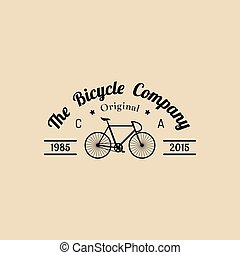 Vector vintage hipster bicycle logo. Modern velocipede...