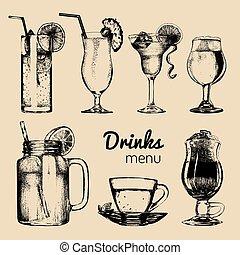 Cocktails,soft drinks and glasses for bar,restaurant,cafe...
