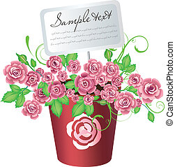 Flowerpot with roses and card