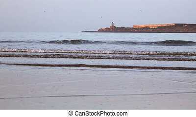 Atlantic ocean beach near Essaouira town, Morocco - View of...