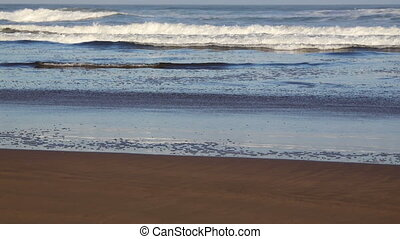 View of Atlantic ocean beach in Casablanca, Morocco - View...