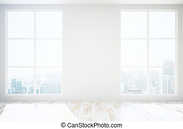 Unfurnished room with blank wall - Unfurnished room interior...