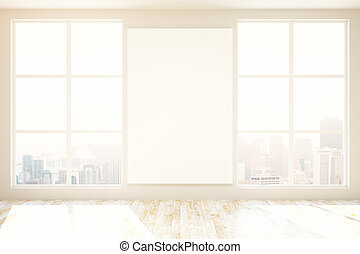 Unfurnished interior with blank poster - Unfurnished...