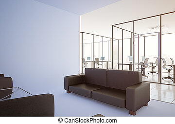 Contemporary office with blank wall