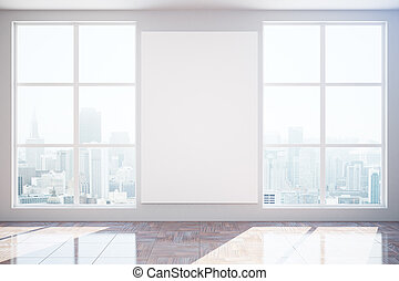 Unfurnished interior with blank banner - Unfurnished...