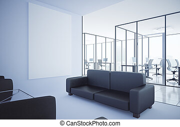 Contemporary office with blank whiteboard
