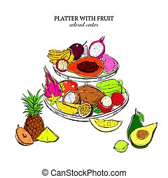 Hand Drawn Exotic Fruits Template - Hand drawn exotic fruits...
