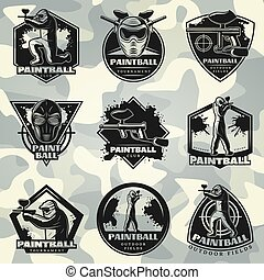 Premium Vintage Paintball Club Labels Set - Premium vintage...