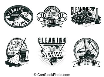 Vintage Professional Cleaning Service Labels Set - Vintage...