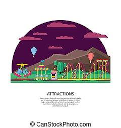 Amusement Park Or Funfair Concept - Amusement park or...
