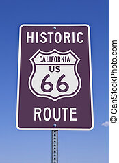 Rt 66 California Sign - Historic California US Route 66 road...