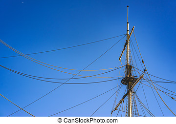 ship's mast against a backdrop of blue sky