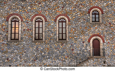 Church Architecture - South wall of an ortodox church in...