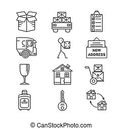 Line art icon set for Moving. Thin line art icons. Flat...
