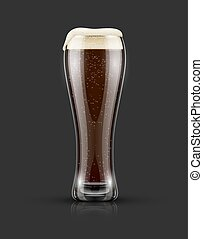 Full glass of dark black beer with froth - Full glass of...