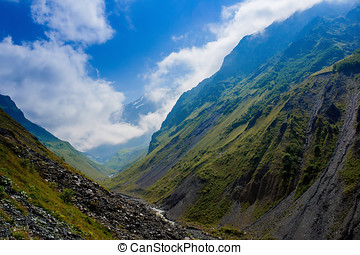 Clouds and mountains, Caucas Mountains, Karmadon Russia