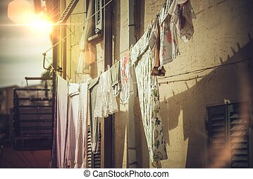 Air-Drying Clothing in the Italy. Italian Living Concept