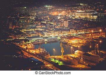 La Spezia Cityscape and Marina at Night. Liguria, Italy....