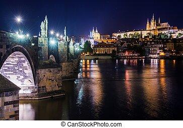 St Charles Bridge Prague - St Charles Bridge at Night....