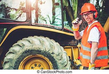 Road Construction Worker - Road Work Job. Caucasian Highway...
