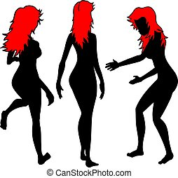 red hair woman - design of red hair woman