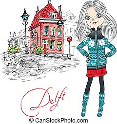 Vector beautiful girl in Delft, Netherlands. - Cute hipster...