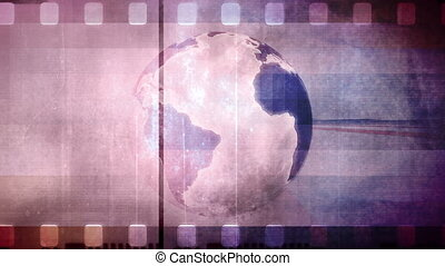 Non looping globe and old film animated retro background -...