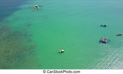 Drone Flies over Fishing Boats on Azure Sea Surface - drone...
