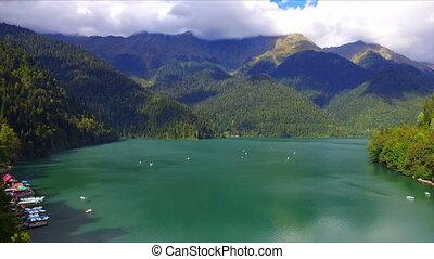 Aerial view on mountain lake Ritsa, Abkhazia, Caucasus