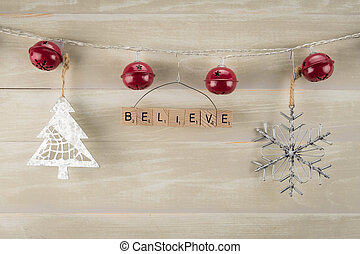 Red Bells with Believe Ornament