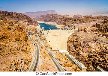 Hoover Dam Hydroelectric power station Arizona Nevada -...