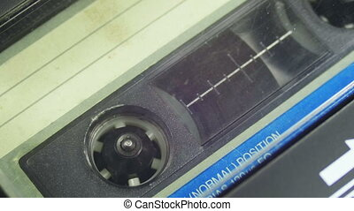 Audio Cassette in the Tape Recorder Rotates