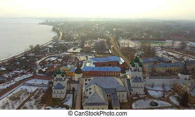 Aerial view of the Rostov Kremlin at winter
