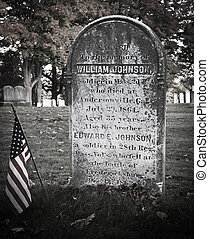 Civil War Headstone Milford MA cemetary died at...