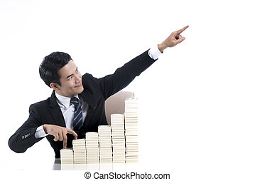 Young businessman with finger walking up the stair and high...