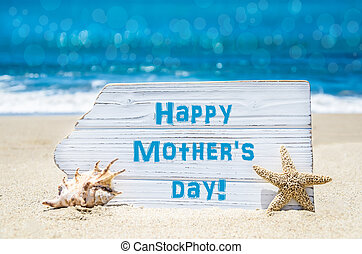 Mother's daybbackground with seashell and starfish on the...