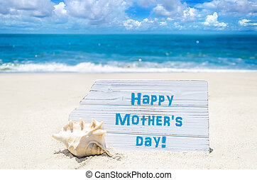 Happy mother's day background with seashell on the sandy...