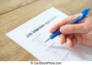 Man answering to the job resume application for employment