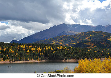 Pikes Peak and Crystal Resevoir - A view of Pikes Peak,...