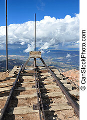 Pikes Peak Train Tracks - Train tracks atop Pikes Peak end...
