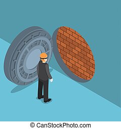 Isometric thief with vault door with brick wall inside -...