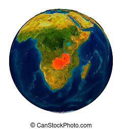 Zambia highlighted on globe - Zambia in red on detailed...