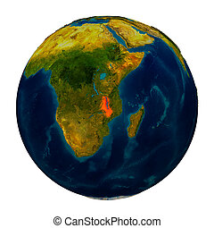 Malawi highlighted on globe - Malawi in red on detailed...