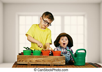 Brother and sister caring for plants . The gardening