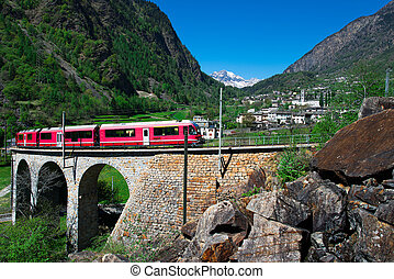 Passage to Brusio Helicidal Viaduct of the Bernina Red Train...