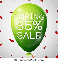 Green Balloon with 35 percent Discounts. SALE concept for...