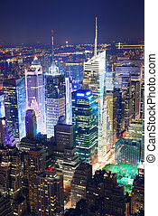 Times Square aerial view at night - New York City Manhattan...